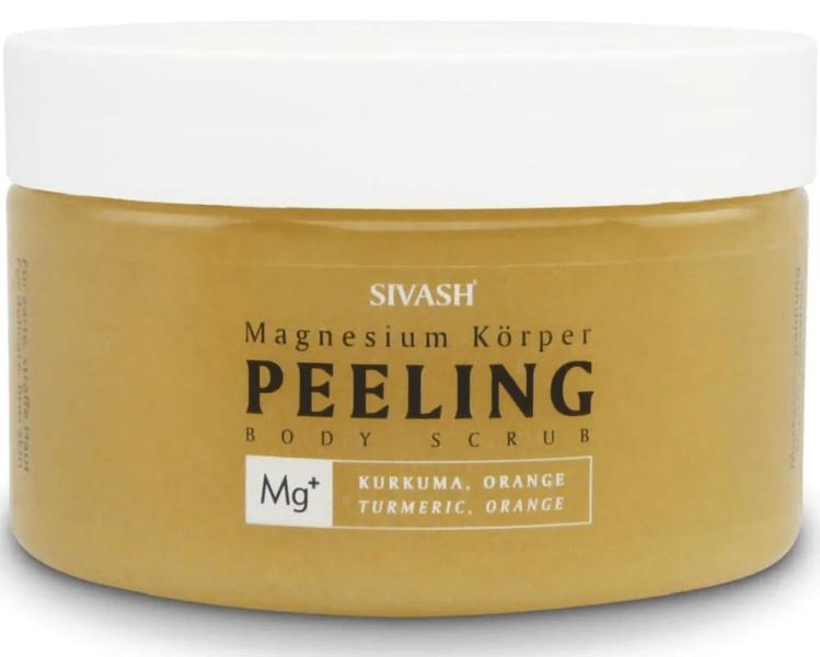 Magnesium Körper Peeling (Body Scrub) mit Kurkuma, Orange, Natriumhyaluronat